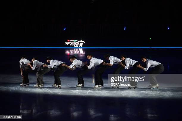 The group of skaters 'Revolutionettes' seen performing on ice during the show Revolution on Ice Tour show is a spectacle of figure skating on ice...
