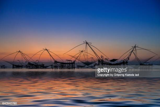 The group of square dip nets in the lake at dawn at Talay Noi, Phutthalung province.