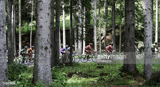 The group of the escapers compete during the fifteenth stage of the Giro d'Italia cycling race 184km race from Trento to Tre Cime di Lavaredo 27 May...
