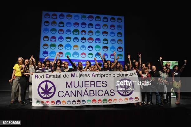 The group of the Mujeres Cannabicas attend the 14th 'Spannabis' Cannabis Fair on March 10 2017 in Barcelona Spain Spannabis is the largest cannabis...