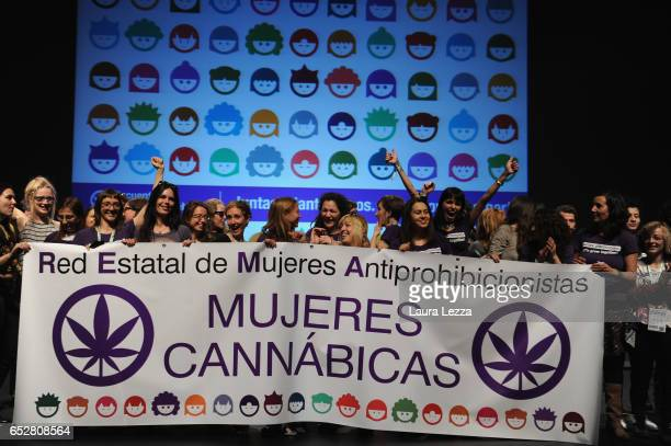 The group of the Mujeres CannabicasPeople attend the 14th 'Spannabis' Cannabis Fair on March 10 2017 in Barcelona Spain Spannabis is the largest...