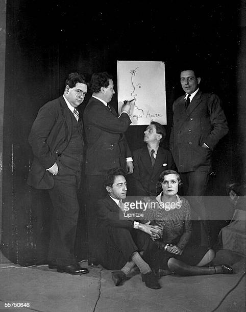 The group of the Six Darius Milhaud Arthur Honegger Louis Durey Germaine Tailleferre Jean Cocteau Francis Poulenc and on the drawing Georges Auric On...