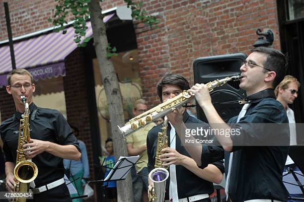The group Operation Fusion perform during Mass Appeal Saxophone on Cornelia Street as part of Make Music Day 2015 on June 21 2015 in New York City