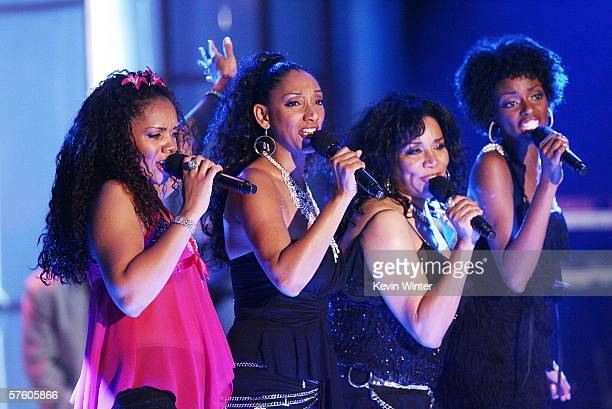 The group Sister Sledge performs at the 13th Annual Race to Erase MS Disco Fever at the Century Plaza Hotel on May 12 2006 in Los Angeles California