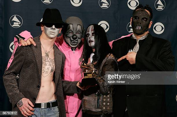 The group Slipknot pose with their award for Best Metal Performance in the press room at the 48th Annual Grammy Awards at the Staples Center on...
