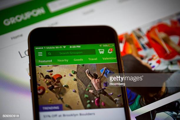 The Groupon Inc application is displayed on an Apple Inc iPhone in an arranged photograph taken in New York US on Tuesday Feb 9 2016 Groupon is...