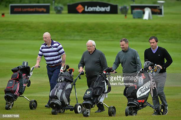 The groups of Greg McFarlane and Joe Darrell of Grangemouth Mun Golf Course with Andrew Skinner and Alan Farrar of Royal Dornoch Golf Club at the 1st...