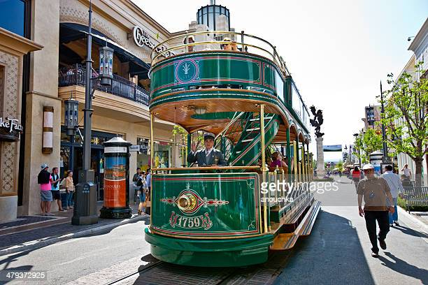 the grove tram driver, los angeles - the grove los angeles stock pictures, royalty-free photos & images