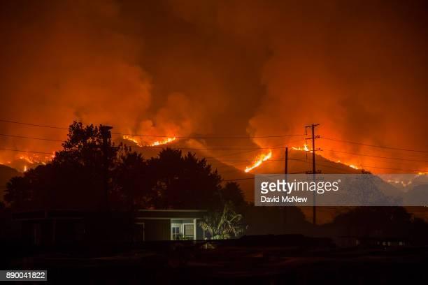 The growing Thomas Fire advances toward Santa Barbara County seaside communities on December 10 2017 in Carpinteria California The Thomas Fire has...