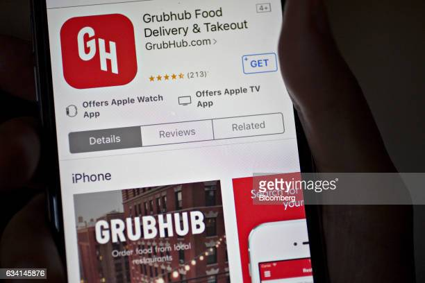 The GrubHub Inc application is displayed in the Apple Inc App Store on an iPhone in Washington DC US on Saturday Feb 4 2017 GrubHub is scheduled to...