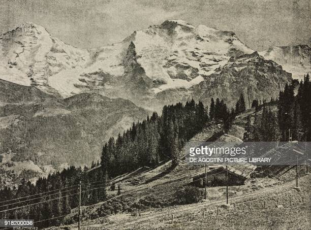 The GruetschalpMuerren electric railway with the Jungfrau range in the background Switzerland engraving after a photo from L'Illustrazione Italiana...