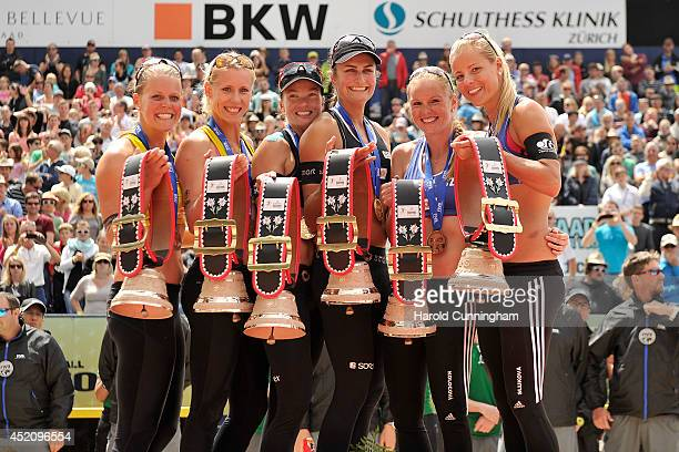 The Gstaad Grand slam medallists Britta Buthe and Karla Borger of Germany Katrin Holtwick and Ilka Semmler of Germany Kristyna Kolocova and Marketa...
