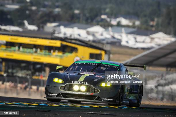 The GTE Am Aston Martin Racing Aston Martin Vantage with drivers Paul Dalla Lana /Pedro Lamy /Mathias Lauda in action during the Le Mans 24 Hours...