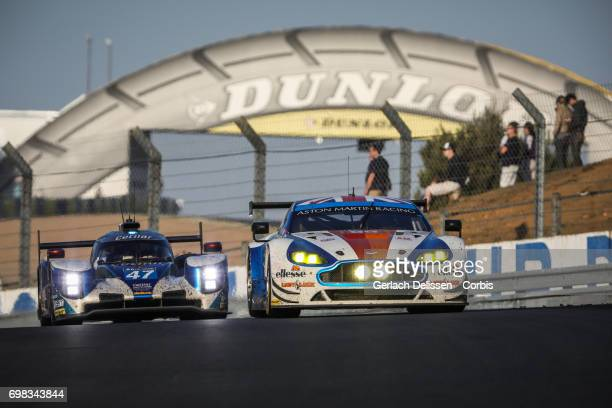 The GTE Am Beechdean AMR Aston Martin Vantage with drivers Andrew Howard /Ross Gunn /Oliver Bryant in action during the Le Mans 24 Hours race on June...