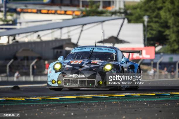 The GTE Am DempseyProton Racing Porsche 911 RSR with drivers Christian Ried /Matteo Cairoli /Marvin Dienst in action during the Le Mans 24 Hours race...