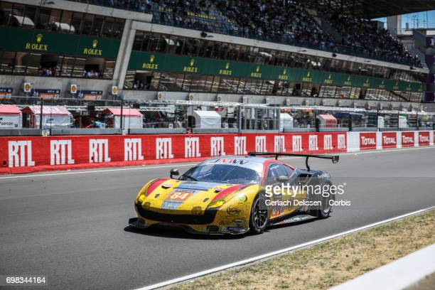 The GTE Am JMW Motorsport Ferrari 488 GTE with drivers Robert Smith /Will Stevens /Dries Vanthoor in action during the Le Mans 24 Hours race on June...