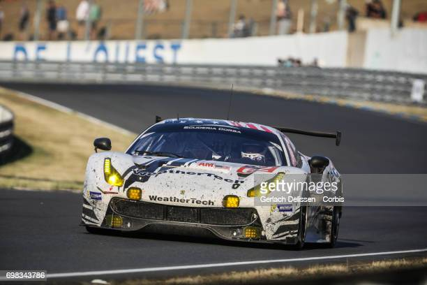 The GTE Am Scuderia Corsa Ferrari 488 GTE with drivers Cooper MacNeil /Bill Sweedler /Townsend Bell in action during the Le Mans 24 Hours race on...