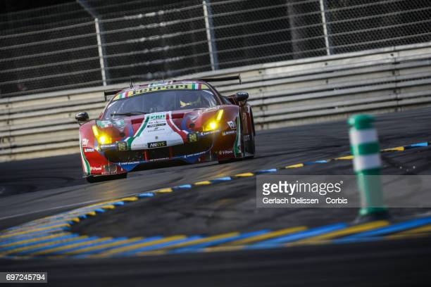 The GTE Pro AF Corse Ferrari 488 GTE with drivers James Calado /Alessandro Pier Guidi /Michele Rugolo in action during the qualification for the Le...