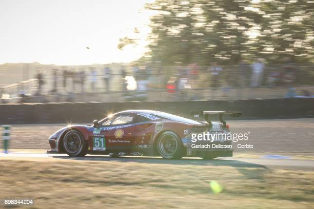 The GTE Pro AF Corse Ferrari 488 GTE with drivers James Calado /Alessandro Pier Guidi /Michele Rugolo in action during the Le Mans 24 Hours race on...
