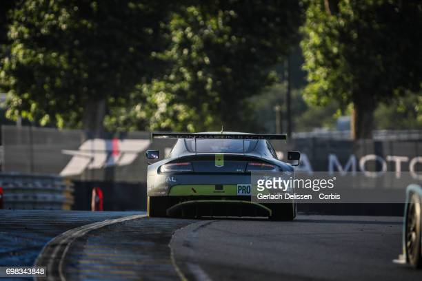 The GTE Pro Aston Martin Racing Aston Martin Vantage with drivers Nicki Thiim /Marco Sorensen /Richie Stanaway in action during the Le Mans 24 Hours...