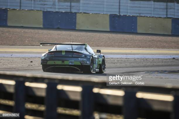 The GTE Pro Aston Martin Racing Aston Martin Vantage with drivers Darren Turner /Jonny Adam /Daniel Serra in action during the Le Mans 24 Hours race...