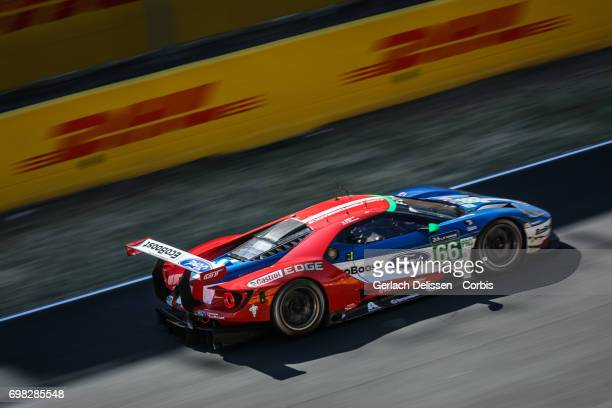 The GTE Pro Ford Chip Ganassi Team UK Ford GT with drivers Stefan Mucke /Olivier Pla /Billy Johnson in action during the Le Mans 24 Hours race on...