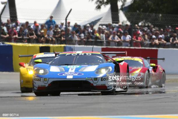 The GTE Pro Ford Chip Ganassi Team UK Ford GT with drivers Andy Priaulx /Harry Tincknell /Pipo Derani in action during the Le Mans 24 Hours race on...