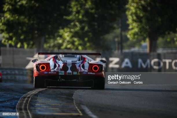 The GTE Pro Ford Chip Ganassi Team UK Ford GT with drivers Joey Hand /Dirk Muller /Tony Kanaan in action during the Le Mans 24 Hours race on June 18...