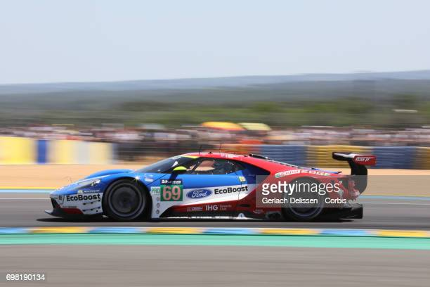 The GTE Pro Ford Chip Ganassi Team UK Ford GT with drivers Ryan Briscoe /Richard Westbrook /Scott Dixon in action during the Le Mans 24 Hours race on...