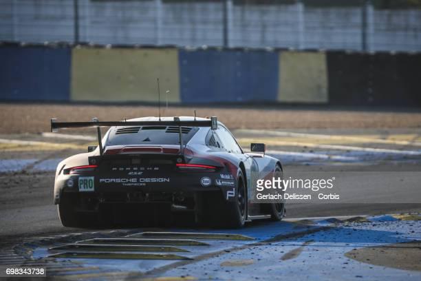 The GTE Pro Porsche GT Team Porsche 911 RSR with drivers Richard Lietz /Frederic Makowiecki /Patrick Pilet in action during the Le Mans 24 Hours race...