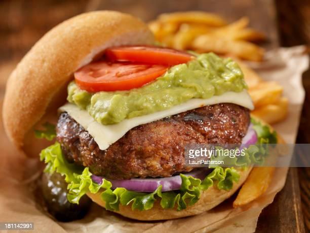 the guacamole bacon burger - guacamole stock photos and pictures