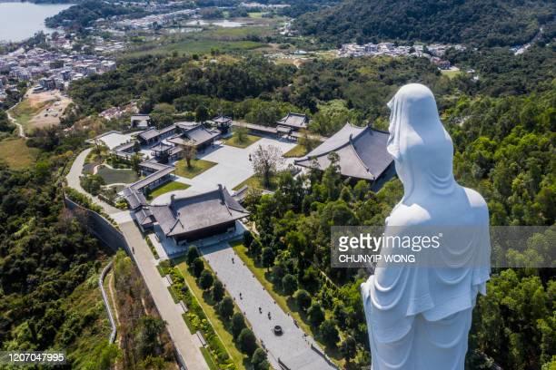 la statua di guanyin all'interno del monastero buddista tsz shan a tai po, hong kong - guanyin bodhisattva foto e immagini stock