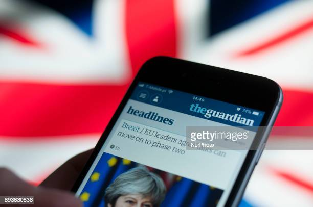 The Guardian newspaper application is seen in an iPhone in this photo illustration on December 15 2017