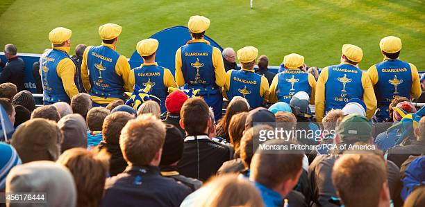 """The """"Guardians of the Cup"""" in the grandstands on the first tee during the fourball matches for the 40th Ryder Cup at Gleneagles, on September 27,..."""
