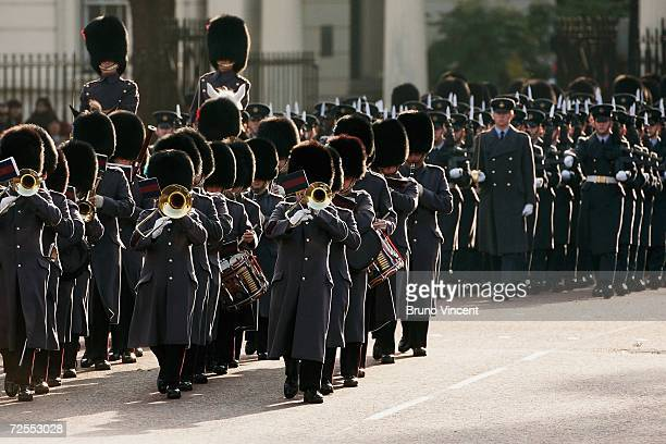 The Guards' band march up to Buckingham Palace after HRH Queen Elizabeth II delivered a speech at the state opening of Parliament on November 15,...