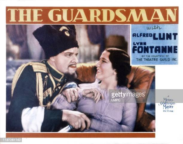 The Guardsman, US lobbycard, from left: Alfred Lunt, Lynn Fontanne, 1931.