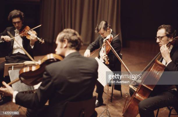 The Guarneri Quartet performing circa 1965 An American string quartet the ensemble comprises Arnold Steinhardt Michael Tree John Dalley and David...