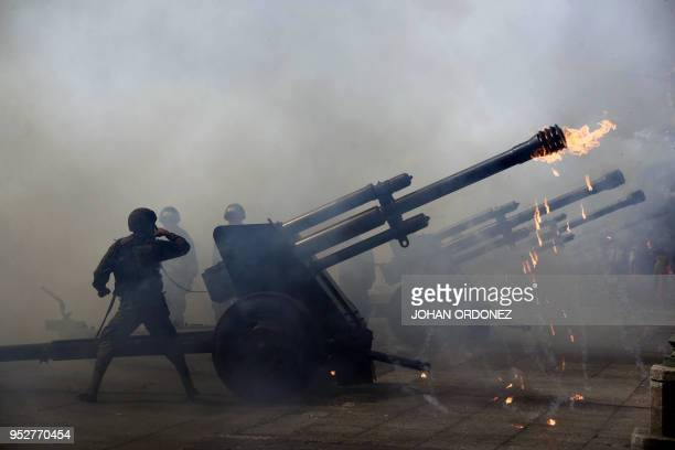The Guatemalan army field artillery take part of the funeral ceremony of former Guatemalan President and Guatemala City Mayor, Alvaro Arzu, outside...