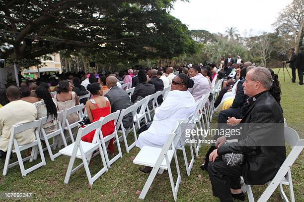 The guests look on at South African National Police Commissioner Bheki Cele's wedding held at the elite Lynton Hall Estate on October 2 2010 in...