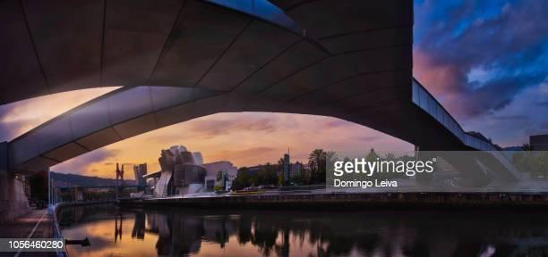 the guggenheim museum by frank gehry at sunset, bilbao, euskadi, spain, europe - 現代美術館 ストックフォトと画像