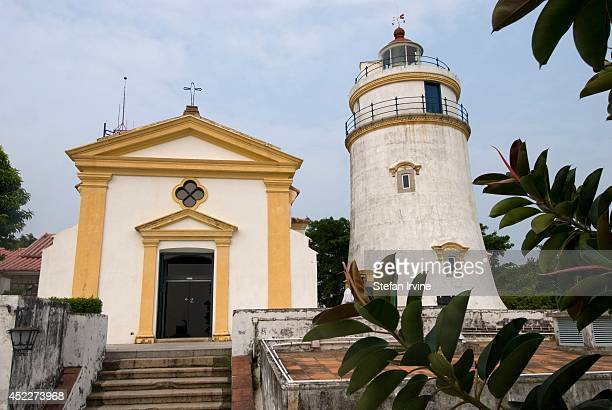 The Guia Lighthouse and Chapel at the Guia Fortress built in the early 17th century at the highest point in Macau