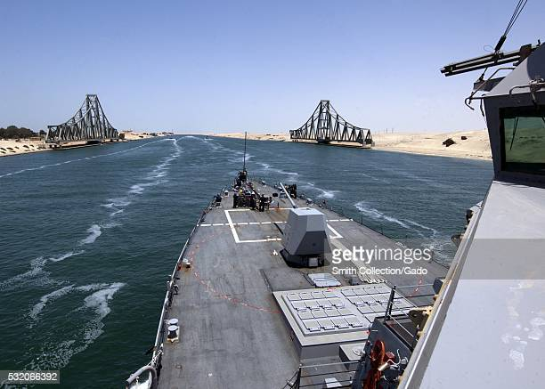 The guided-missile destroyer USS James E Williams DDG 95 transits the Suez Canal, Egypt. Image courtesy Mass Communication Specialist 3rd Class...