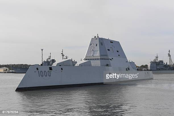 The guidedmissile destroyer USS Zumwalt transits Naval Station Mayport Harbor on its way into port in Jacksonville Florida on October 25 2016 Crewed...