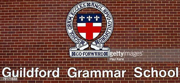 The Guildford Grammar School emblem is pictured on a wall in Guildford on January 23 2008 in Perth Australia The Australian actor was found dead in...