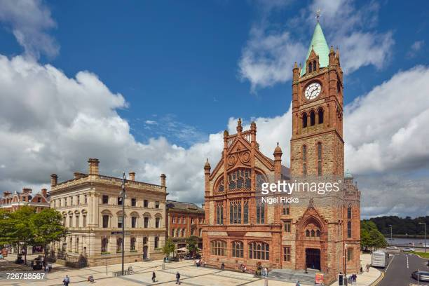 the guildhall, derry (londonderry), county londonderry, ulster, northern ireland, united kingdom, europe - derry northern ireland stock pictures, royalty-free photos & images