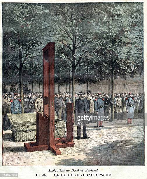 The guillotine used for the execution of Dore et Berland the murderers of Courbevoie lastpage of newspaper Petit Journal august 08 1891
