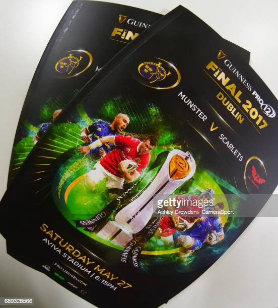 The Guinness PRO 12 Official match day program during the Guinness PRO12 Final match between Munster and Scarlets at the Aviva Stadium on May 27 2017...