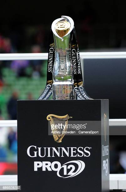 The Guinness PRO 12 Trophy during the Guinness PRO12 Final match between Munster and Scarlets at the Aviva Stadium on May 27 2017 in Dublin Ireland