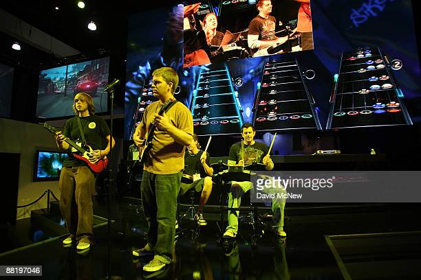 The Guitar Hero 5 game is demonstrated at the Activision exhibit at the 2009 E3 Expo on June 3 2009 in Los Angeles California The 2009 E3 Expo...