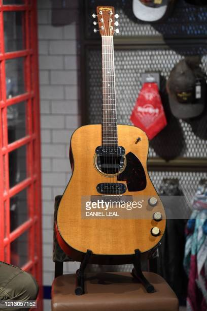 The guitar used by musician Kurt Cobain during Nirvana's famous MTV Unplugged in New York concert in 1993 is pictured at the Hard Rock Cafe...